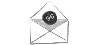 An illustration of an envelope with a chain link inside.